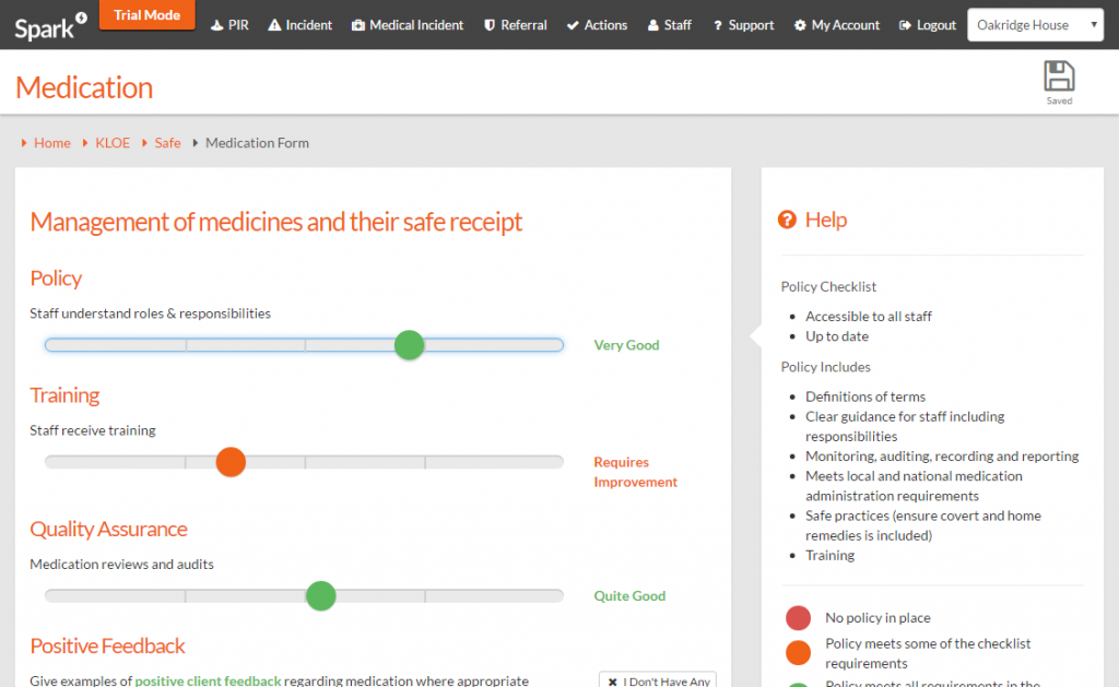 Spark medication page for safe KLOE for CQC PIR