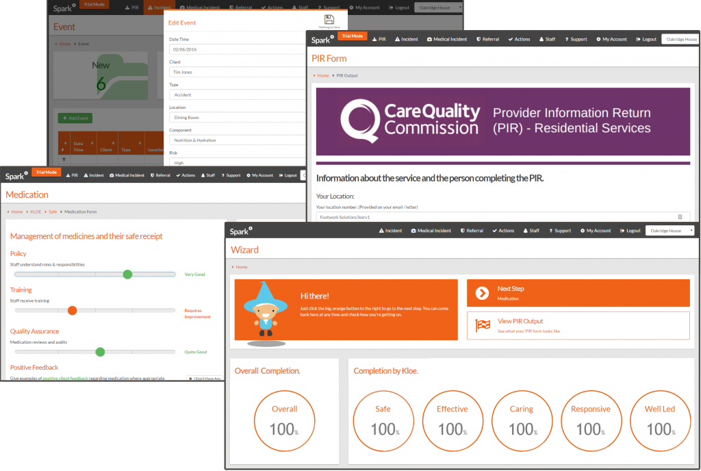 Spark screens CQC inspection ready