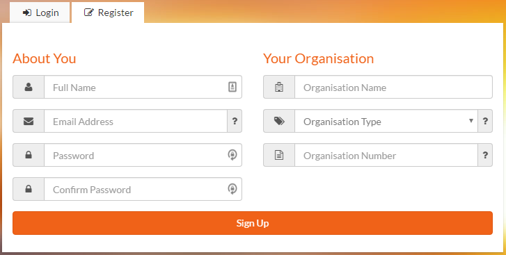 Spark registration screen